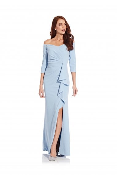 Off Shoulder Crepe Gown In Blue Mist