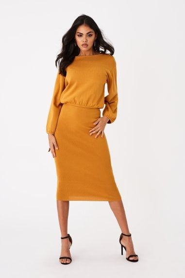 Admire Mustard Knitted Midi Skirt Co-ord