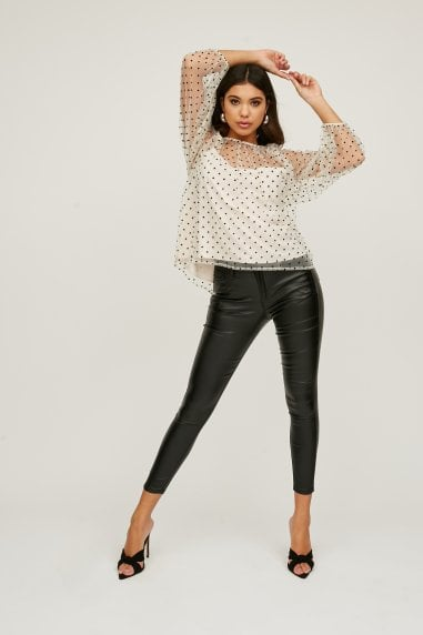 Vibe Cream Polka-Dot Mesh Top