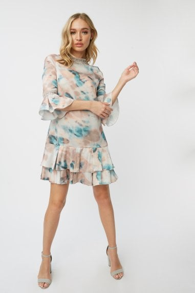 Mishka Agate-Print Tiered Shift Dress
