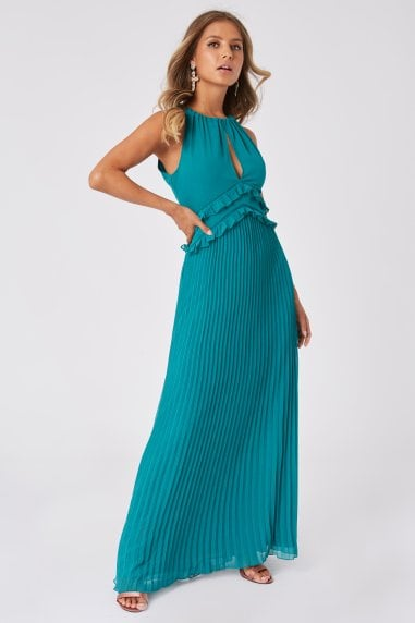Bridesmaid Halston Aquatic Jade Pleated Halterneck Maxi Dress