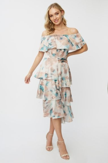 Mishka Agate-Print Tiered Bardot Midi Dress