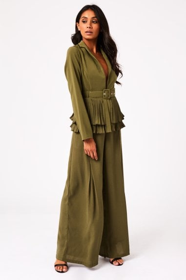 Calabria Khaki Pleat Hem Belted Jacket Co-ord