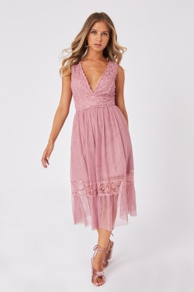 Rosetta Dusty Blush Lace-Trim Midi Dress