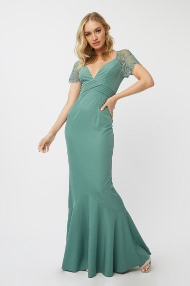 Bridesmaid Layla Nile Blue Embellished Lace Sleeve Maxi Dress