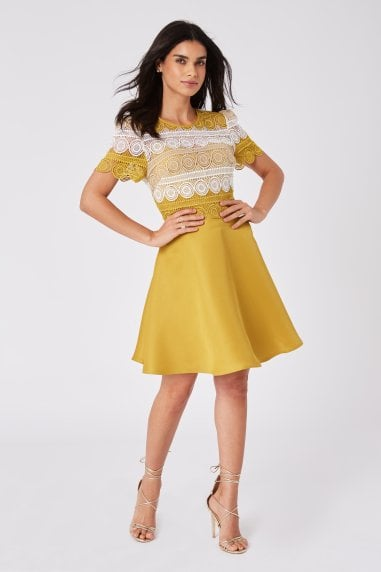 Cara Yellow Crochet Lace Mini Skater Dress