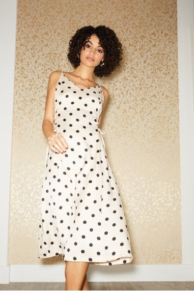 Huni Cream Polka-Dot Satin Lace-Up Midi Slip Dress