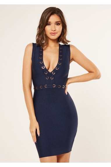 Bandage plunge front bodycon dress with ring detail in blue