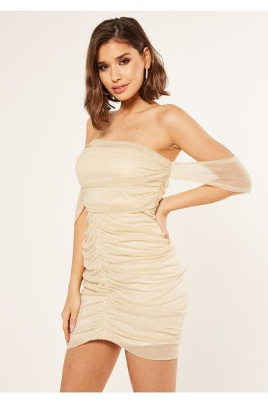 Off shoulder ruched mini bodycon dress in gold