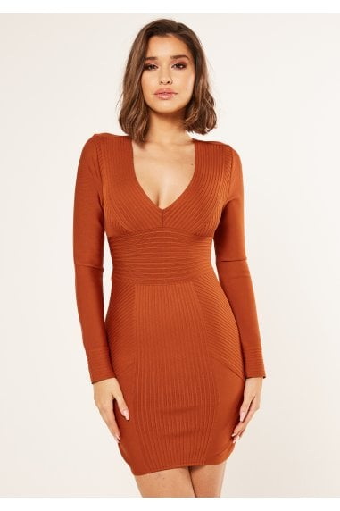 Bandage long sleeve ribbed bodycon dress in tan