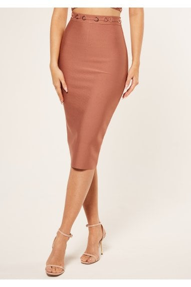 Bandage pencil skirt with ring detail coord in
