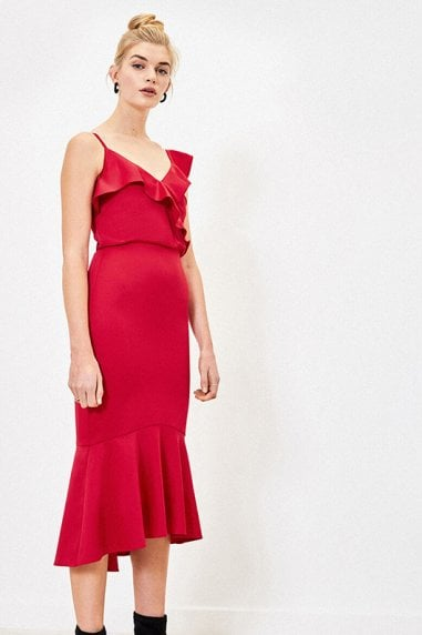 SATIN PEPLUM FISHTAIL DRESS IN MID RED