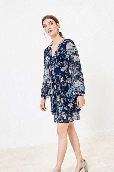 TASHA FLORAL PLEAT SKATER IN NAVY