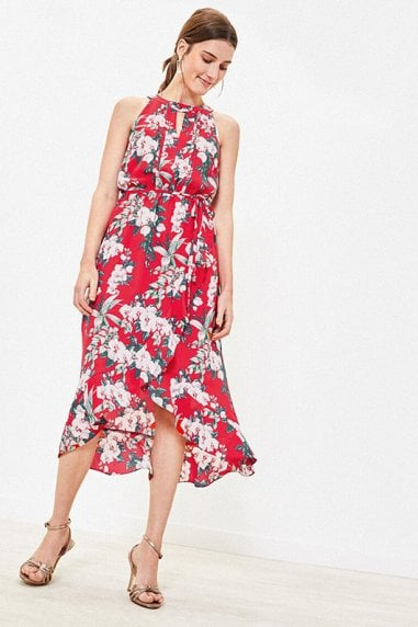 TROPICAL FLORAL WRAP DRESS IN MULTI RED