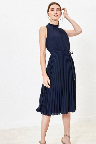 PLAIN PIECRUST PLEAT MIDI IN NAVY
