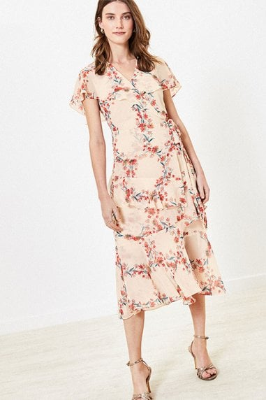 REBECCA FLORAL RUFFLE MIDI IN MULTI NATURAL