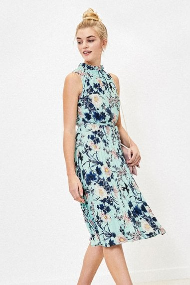 TASHA FLORAL PLEATED MIDI IN TURQUOISE