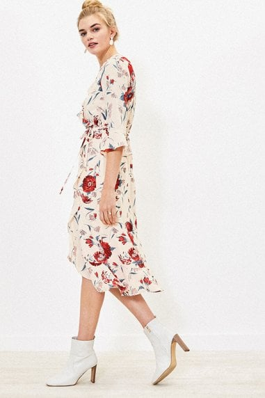 CEICY FLORAL WRAP FRILL DRESS IN MULTI NATURAL
