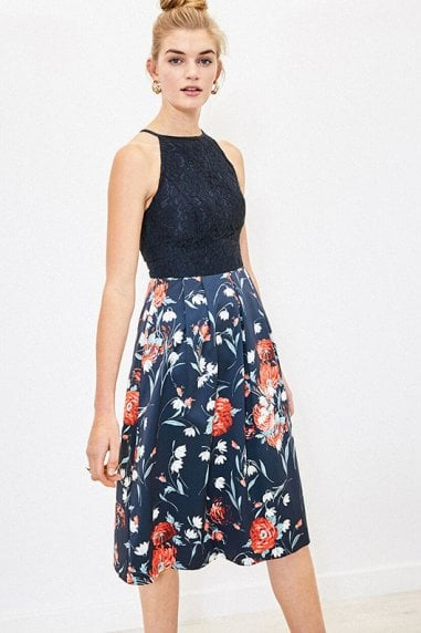 CEICY FLORAL LACE TOP MIDI IN NAVY