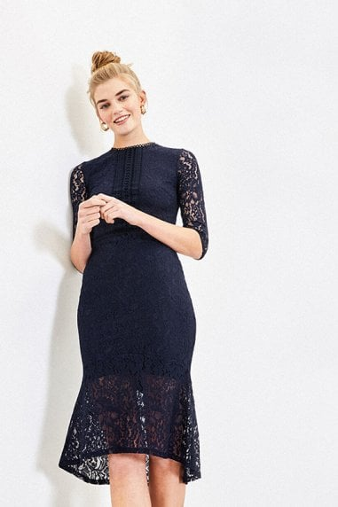 LACE FISHTAIL DRESS IN NAVY