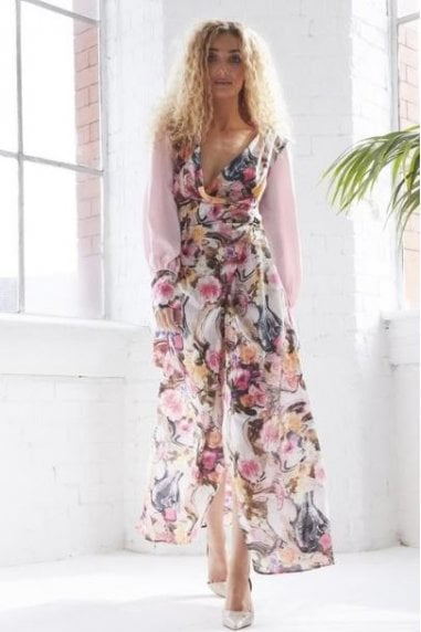 OUTLET V NECK MAXI WRAP DRESS WITH SIDE SLIT IN FLORAL PRINT