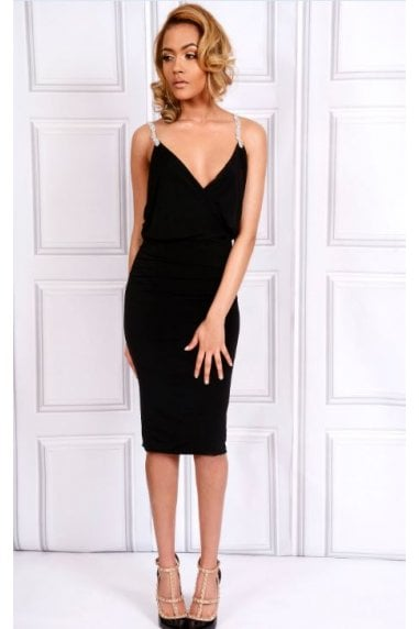 OUTLET MIDI LENGTH BEADED STRAPS BODYCON DRESS