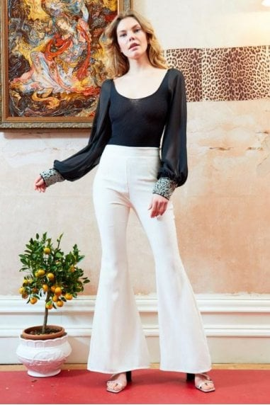 OUTLET HIGH WAISTED STRIPE FLARED TROUSERS