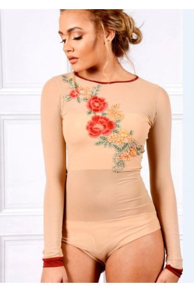 OUTLET NUDE LONG SLEEVE MESH BODYSUIT WITH FLORAL EMBROIDERY
