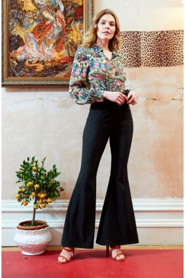 OUTLET HIGH WAISTED FLARED SHIMMERY TROUSERS