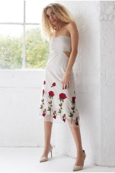 OUTLET IVORY EMBROIDERED CUT OUT BANDEAU MIDI DRESS
