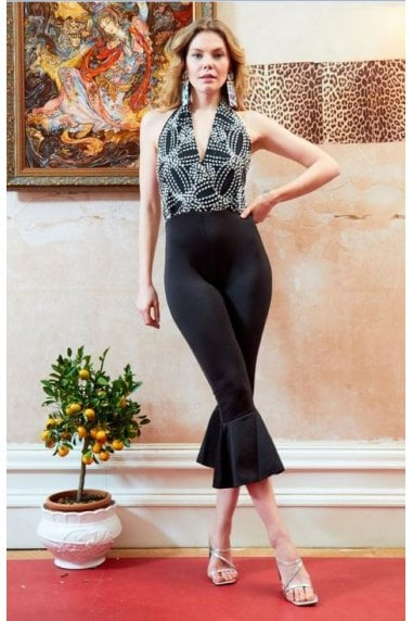 OUTLET BACKLESS LACE EMBROIDERED JUMPSUIT