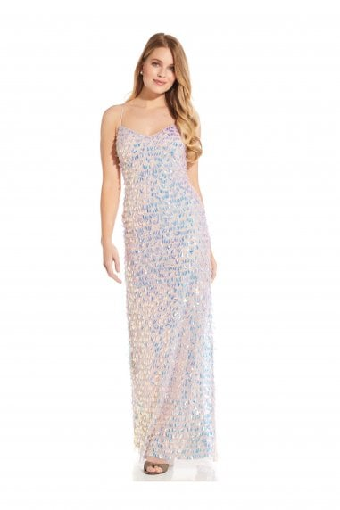 Beaded Slim Column Gown In Shell
