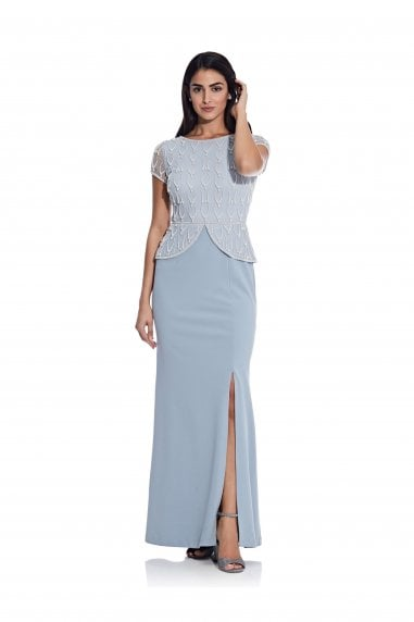 Bead Crepe Peplum Gown In Blue Heather