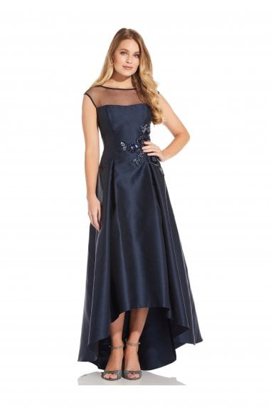 Mikado High Low Dress In Midnight