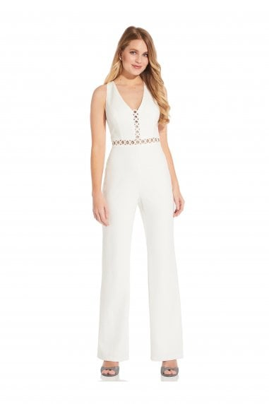 Racer Back Jumpsuit In Ivory