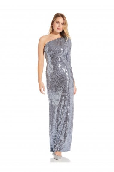 Mirror Foil One Shoulder Gown In Dutch Blue