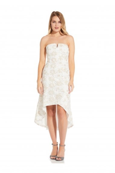 Guipure Lace Dress In Ivory/Gold