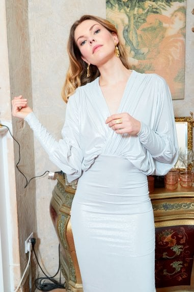 Metallic plunge front and back batwing midi dress