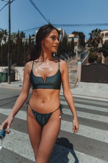 Vana Europe Olivia Gunmetal Grey 'V' Crop Bikini Top