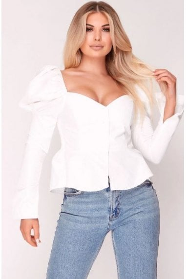 White Puff Shoulder Cupped Top