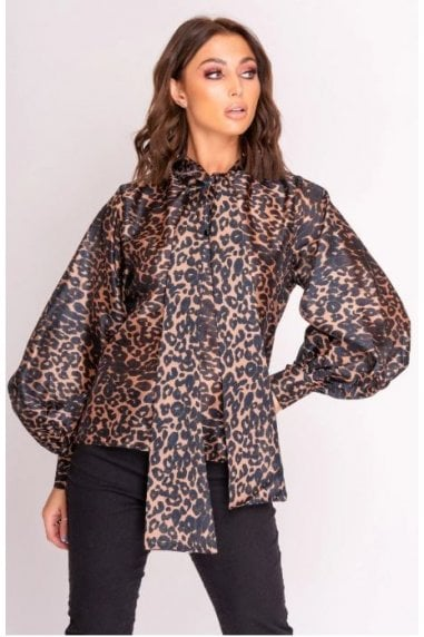 Brown Leopard Print Balloon Sleeve Shirt