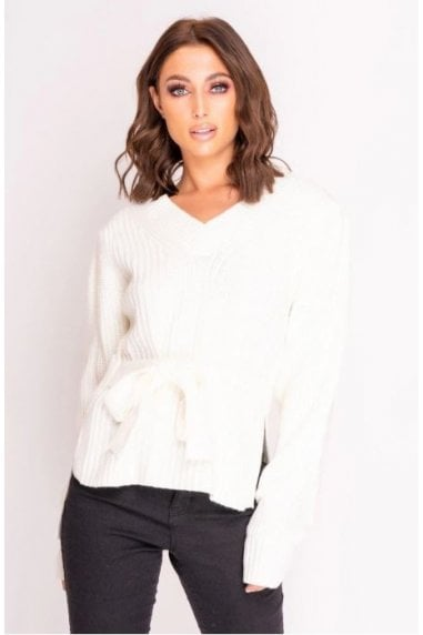 White Tie Waist Knitted Jumper