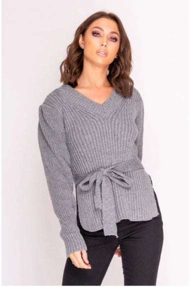 Grey Tie Waist Knitted Jumper