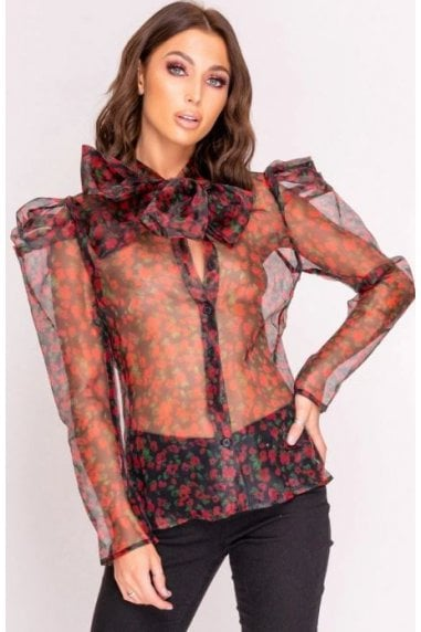 Black Sheer Rose Print Pussy Bow Blouse