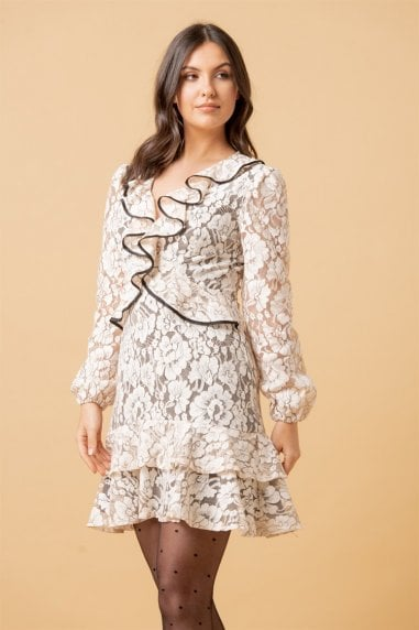 Nude Floral Lace Frill Long Sleeve Mini Dress
