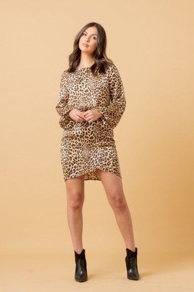 Leopard Wrap Skirt Mini Dress