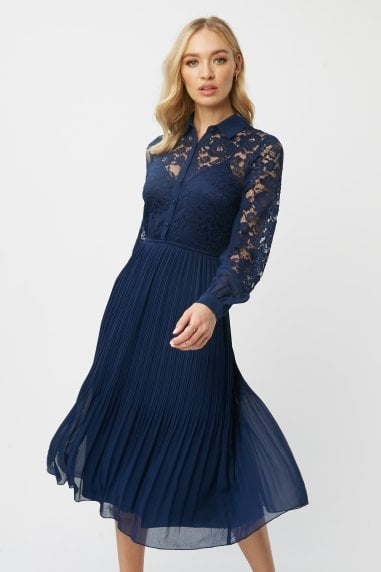 Aliza Navy Lace Midi Shirt Dress