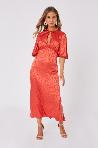 Mimi Salsa Satin Jacquard Midaxi Dress