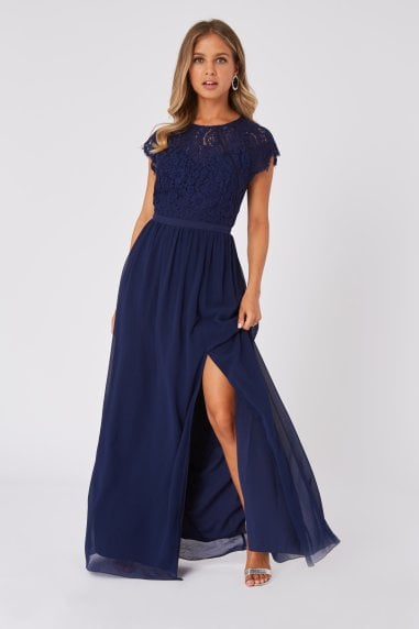 Bridesmaid Sonja Navy Lace Maxi Dress
