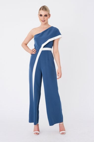 Farrell Prussian Blue Contrast Stripe One-Shoulder Jumpsuit